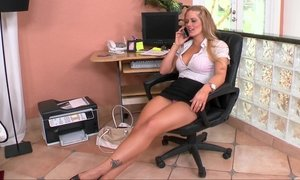 blonde, heels, horny milf, milf, office