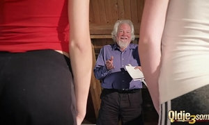 Kiara and Mia both fuck an old man and share his cum after a hot fuck