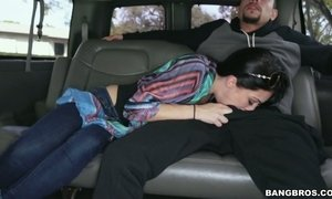 Sweet looking whorish chick Crystal Rae is fucked in the van