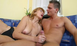 See horny stud drilling Eva s bushy pussy and petting her big soft tits.