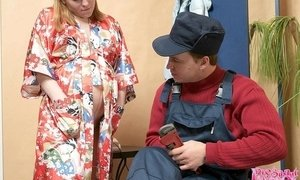Pregnant housewife cheating on her husband with a handsome plumber who fucks her pussy right