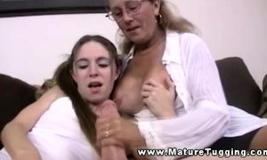 Mature milf in trio tugging dick for this lucky guy