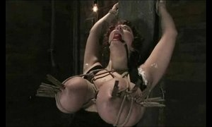 New girl gets her GIANT NATURAL TITS tied up and shocked
