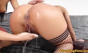 Fist fucked glamour blonde squirts